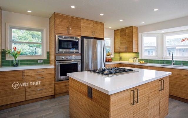 Dòng tủ bếp inox giả gỗ bao đẹp