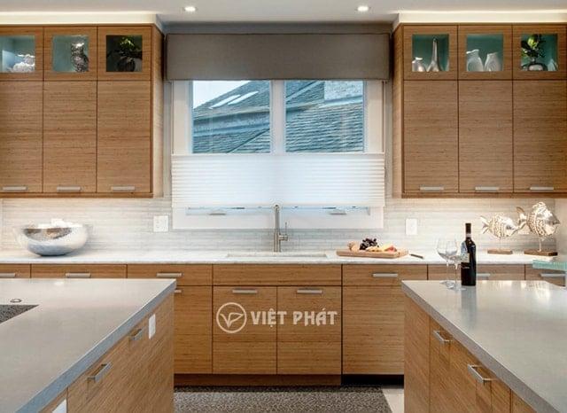 Tủ bếp inxo giả gỗ kiểu chữ T