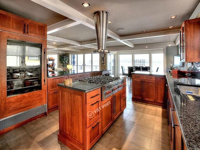 Tủ bếp inxo giả gỗ kiểu chữ I